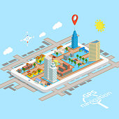 GPS Mobile Navigation Isometric Map.