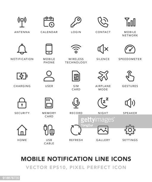 mobile notification line icons - key stock illustrations