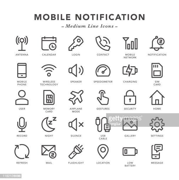 ilustrações, clipart, desenhos animados e ícones de notificação móvel-ícones de linha média - silêncio