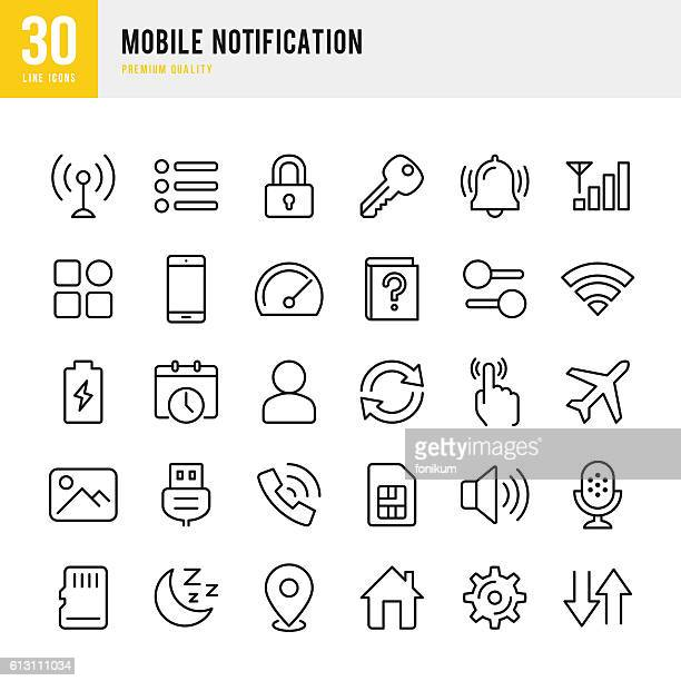 mobile notification  - set of thin line vector icons - mobile phone stock illustrations, clip art, cartoons, & icons