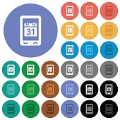 Mobile organizer round flat multi colored icons
