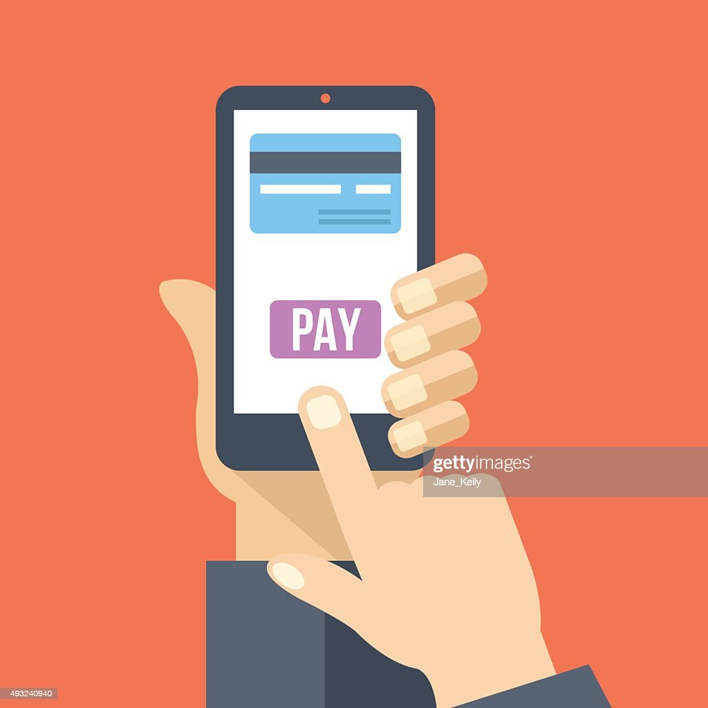 Mobile payment. Hand holds smartphone with online banking. Flat illustration