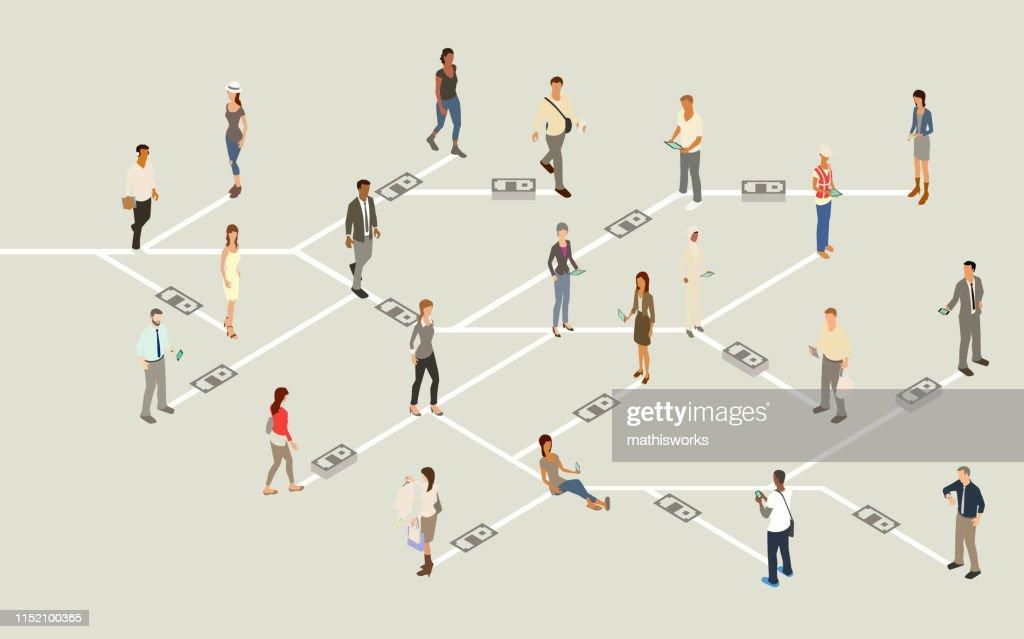 Mobile payment network illustration : stock illustration