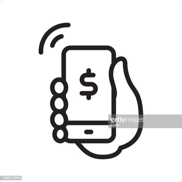 ilustrações de stock, clip art, desenhos animados e ícones de mobile payment - outline icon - pixel perfect - telefone móvel