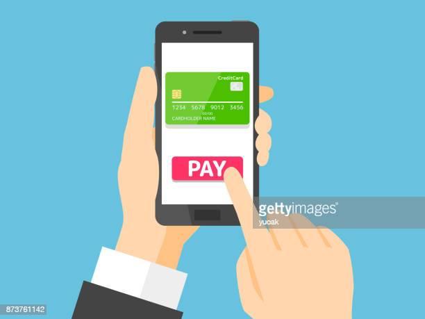 モバイル決済  - クレジットカード点のイラスト素材/クリップアート素材/マンガ素材/アイコン素材