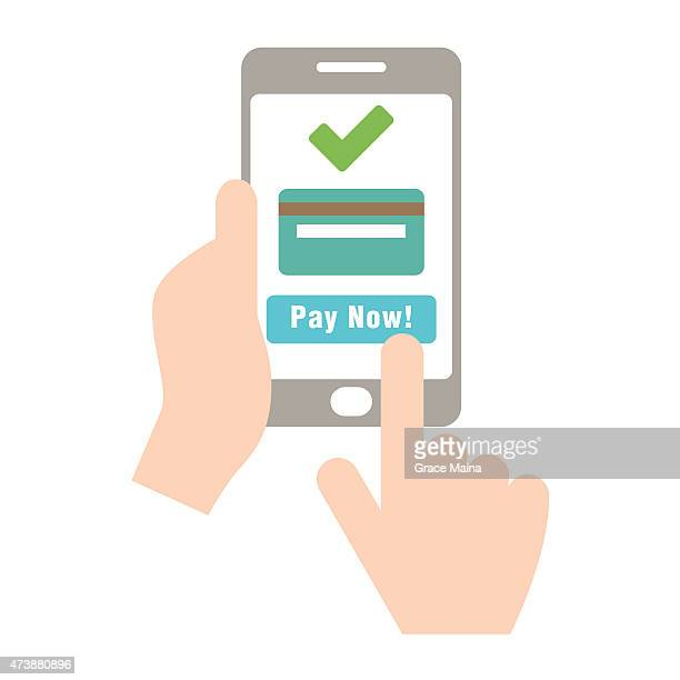 Mobile payment with credit card hand holding phone - VECTOR