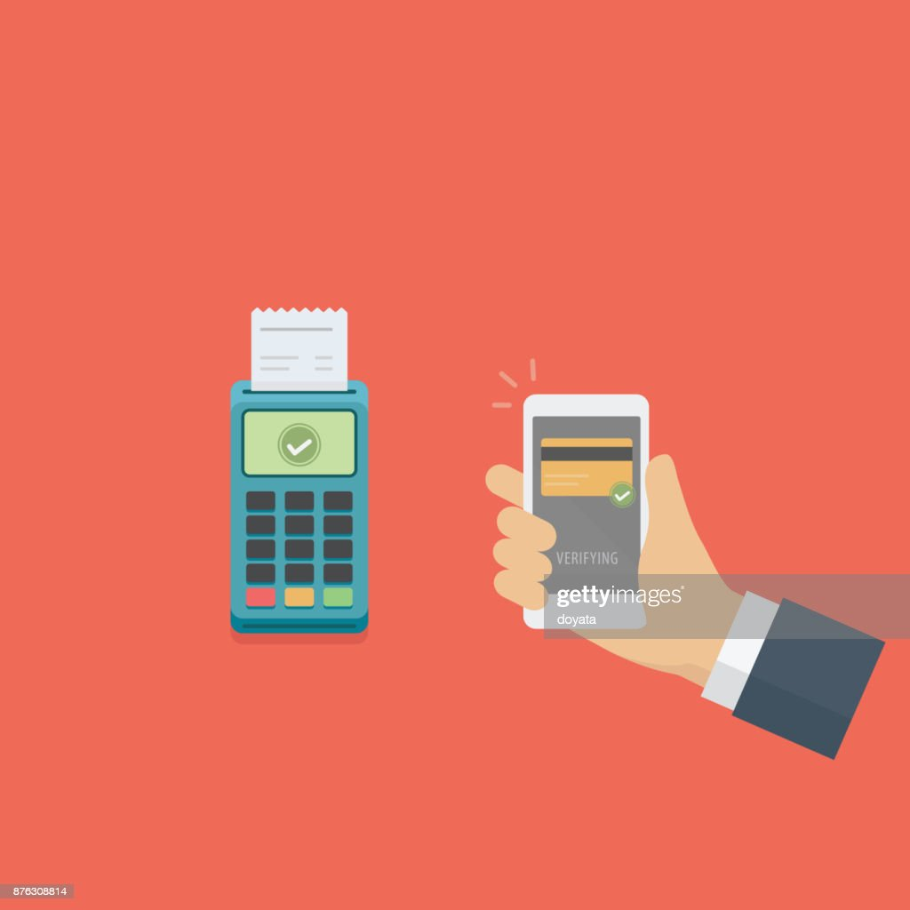 Mobile payment with smartphone and pos machine, Near field communication technology, Cashless payment illustration