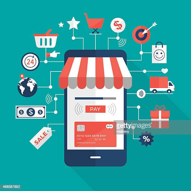 mobile payments - e commerce stock illustrations