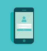 Mobile phone account login screen user interface vector