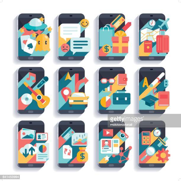 mobile phone activities icon set