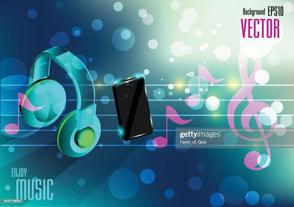 mobile phone and earphone on bokeh background with music note