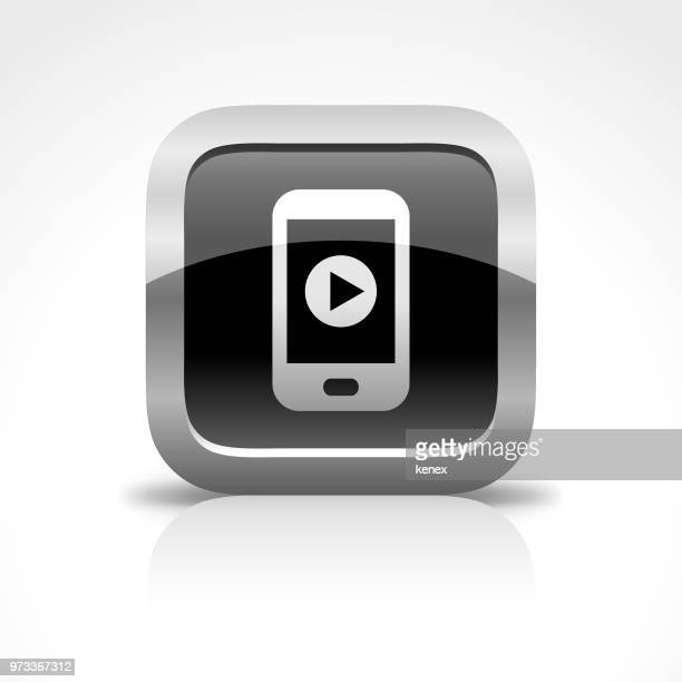 Mobile Phone and Media Glossy Button Icon