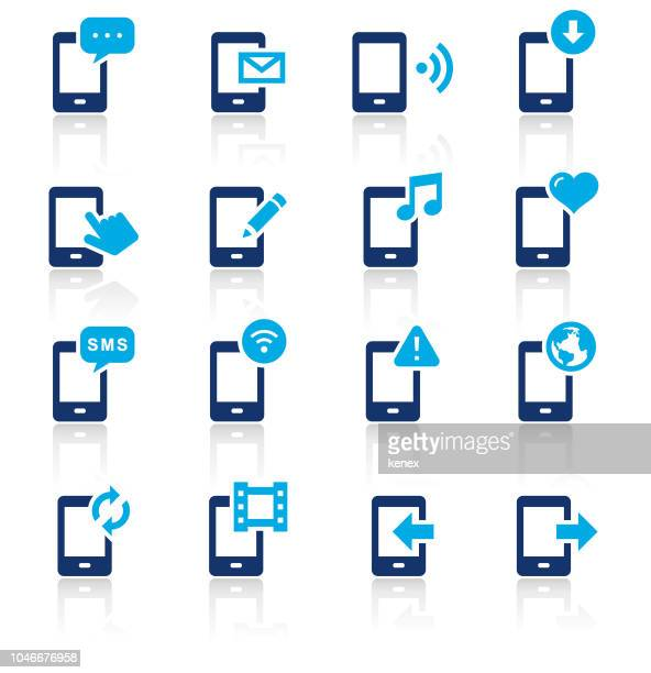Mobile Phone and Media Two Color Icons Set