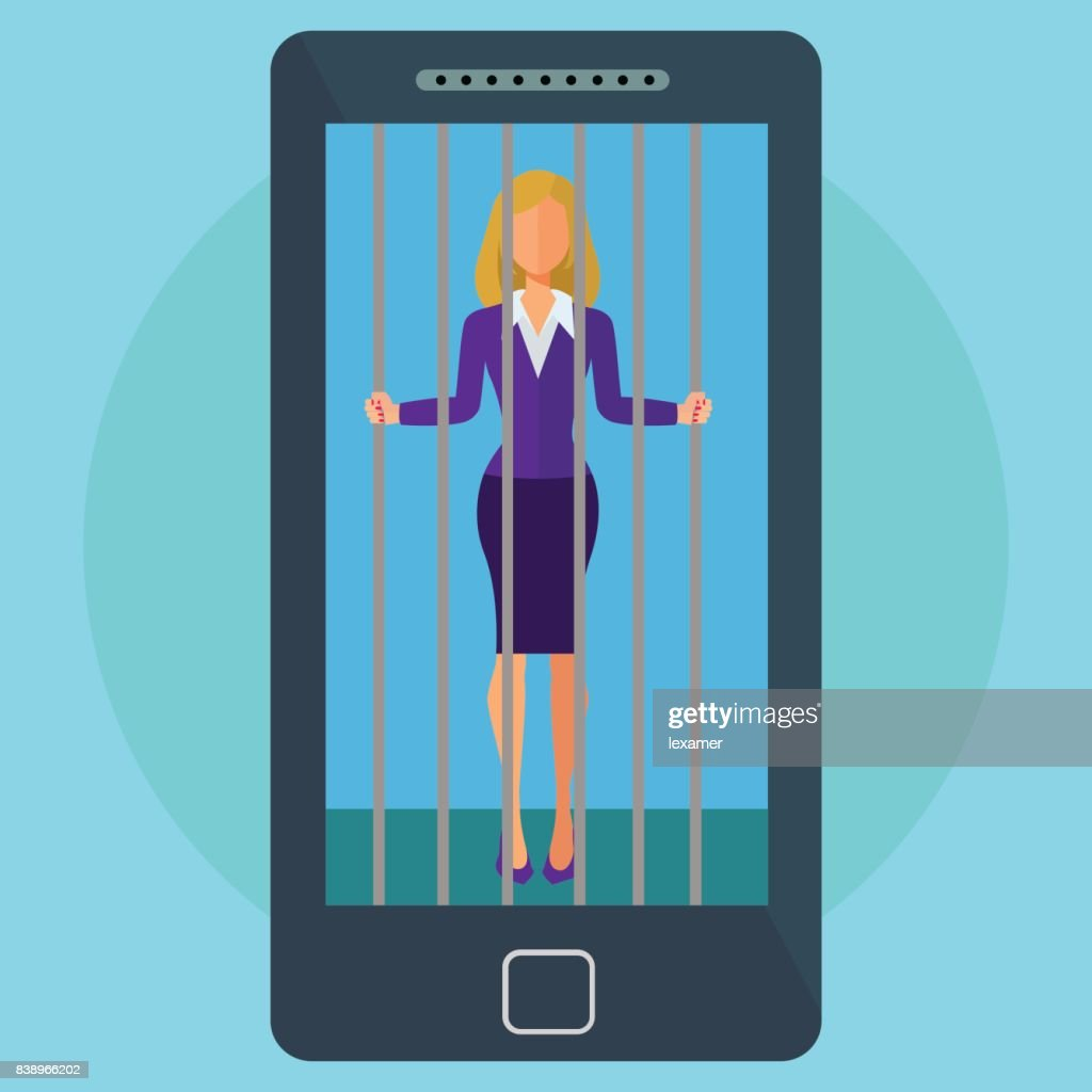 Mobile phone and social media addiction female imprisoned vector concept