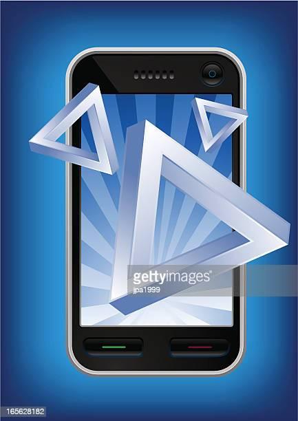 mobile phone bursting impossible illusion triangles. - esher stock illustrations