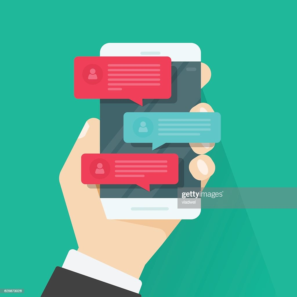 Mobile phone chat message notifications, chatting, concept of online talking