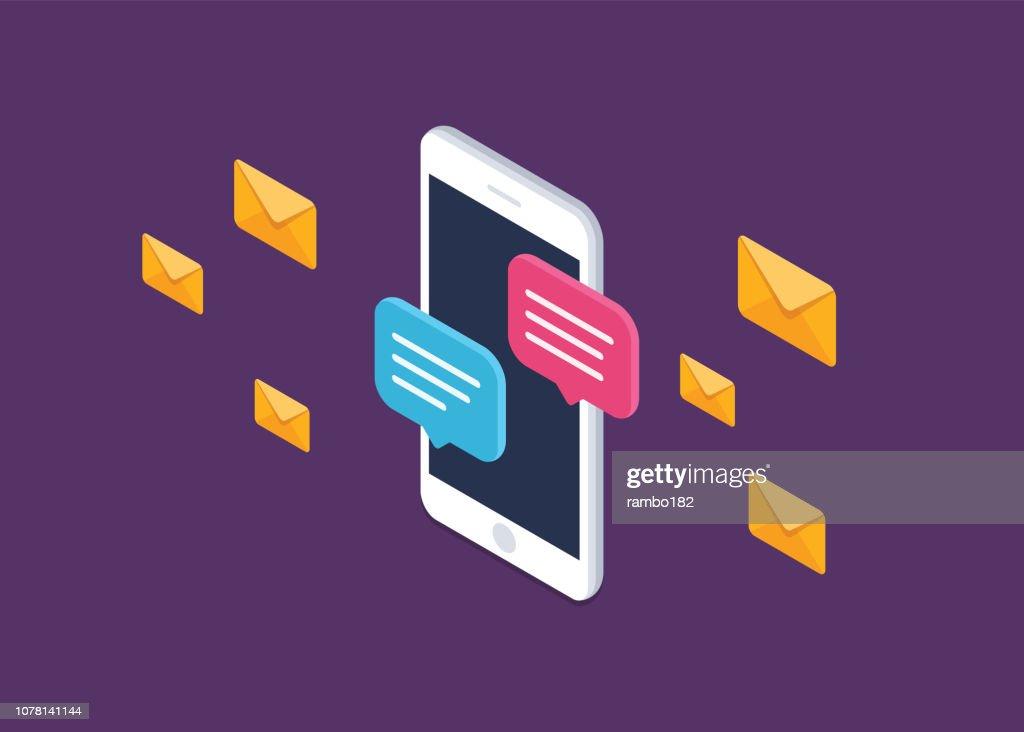 通知ベクトル アイコン分離線の概要, スマート フォン チャット バブル スピーチ ピクトグラム, オンライン話のコンセプト携帯電話チャット メッセージは、メッセージング、会話、ダイア� : ストックイラストレーション