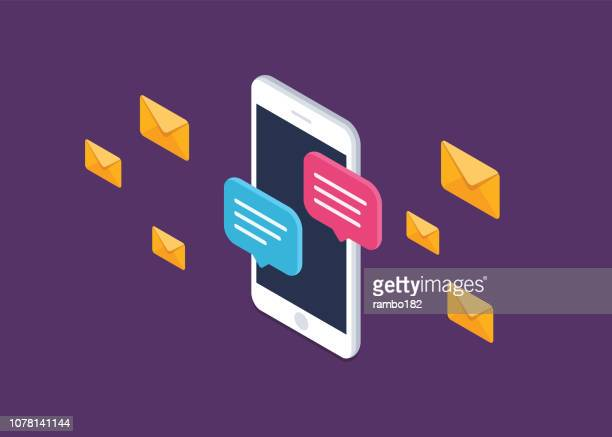 mobile phone chat message notifications vector icon isolated line outline, smartphone chatting bubble speeches pictogram, concept of online talking, speak messaging, conversation, dialog symbol, isometric illustration. - e mail stock illustrations