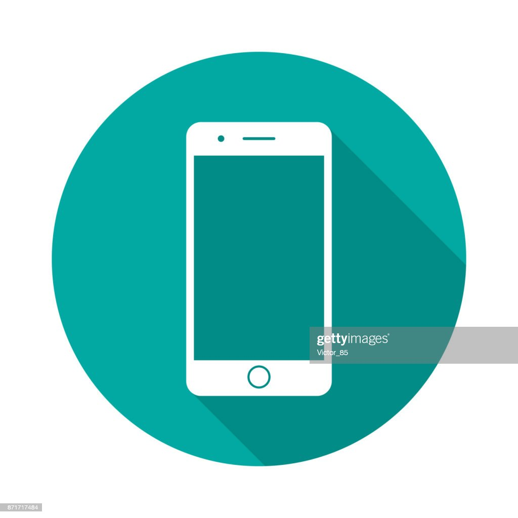 Mobile phone circle icon with long shadow. Flat design style.