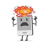 Mobile phone exploding due to overheating or swelling of the battery. A mushroom shaped explosion imitating a nuclear bomb. Cartoon character. Flat design, vector illustration.