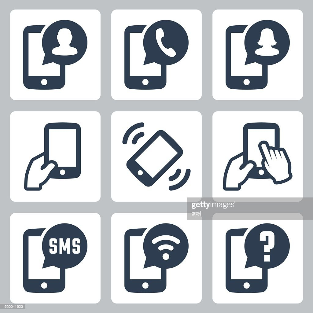 Mobile phone functions vector icons set