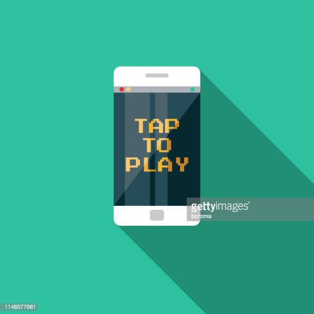 Mobile Phone Game Flat Design Icon