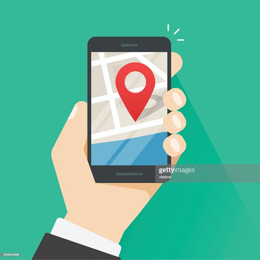 Mobile phone geo location, smartphone gps navigator city map pointer