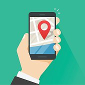 Mobile phone geo location, smartphone gps navigator city map pointer