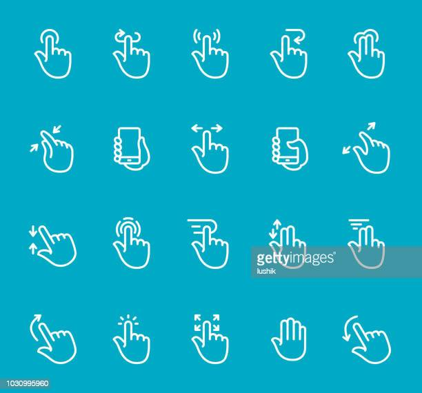 Mobile Phone Gestures - line icon set