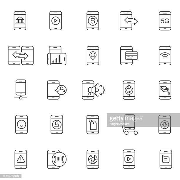 携帯電話のアイコンセット - 通知アイコン点のイラスト素材/クリップアート素材/マンガ素材/アイコン素材