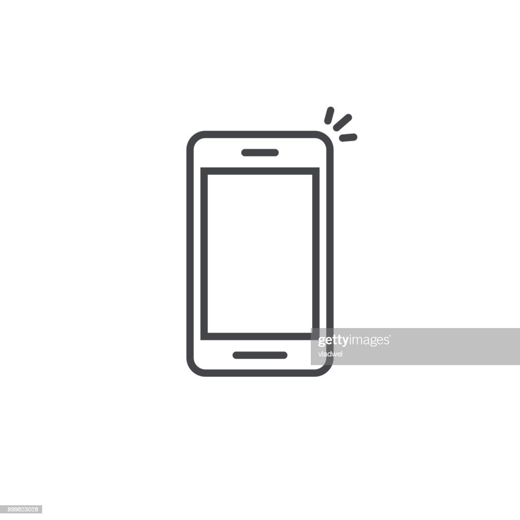 Mobile phone icon vector, line art outline smartphone symbol, simple linear cellphone pictogram isolated on white