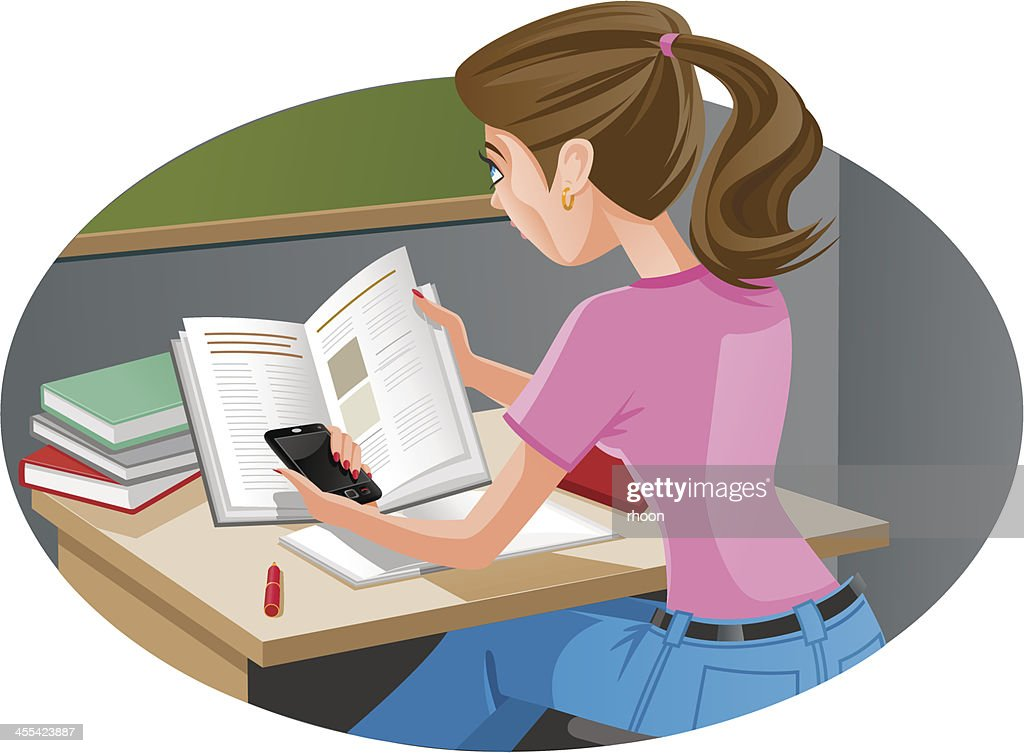 Mobile Phone in classroom : stock illustration