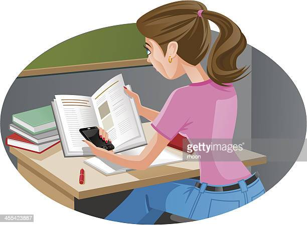 mobile phone in classroom - high school student stock illustrations, clip art, cartoons, & icons