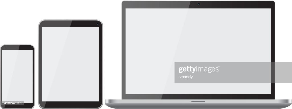 Mobile phone, laptop and tablet