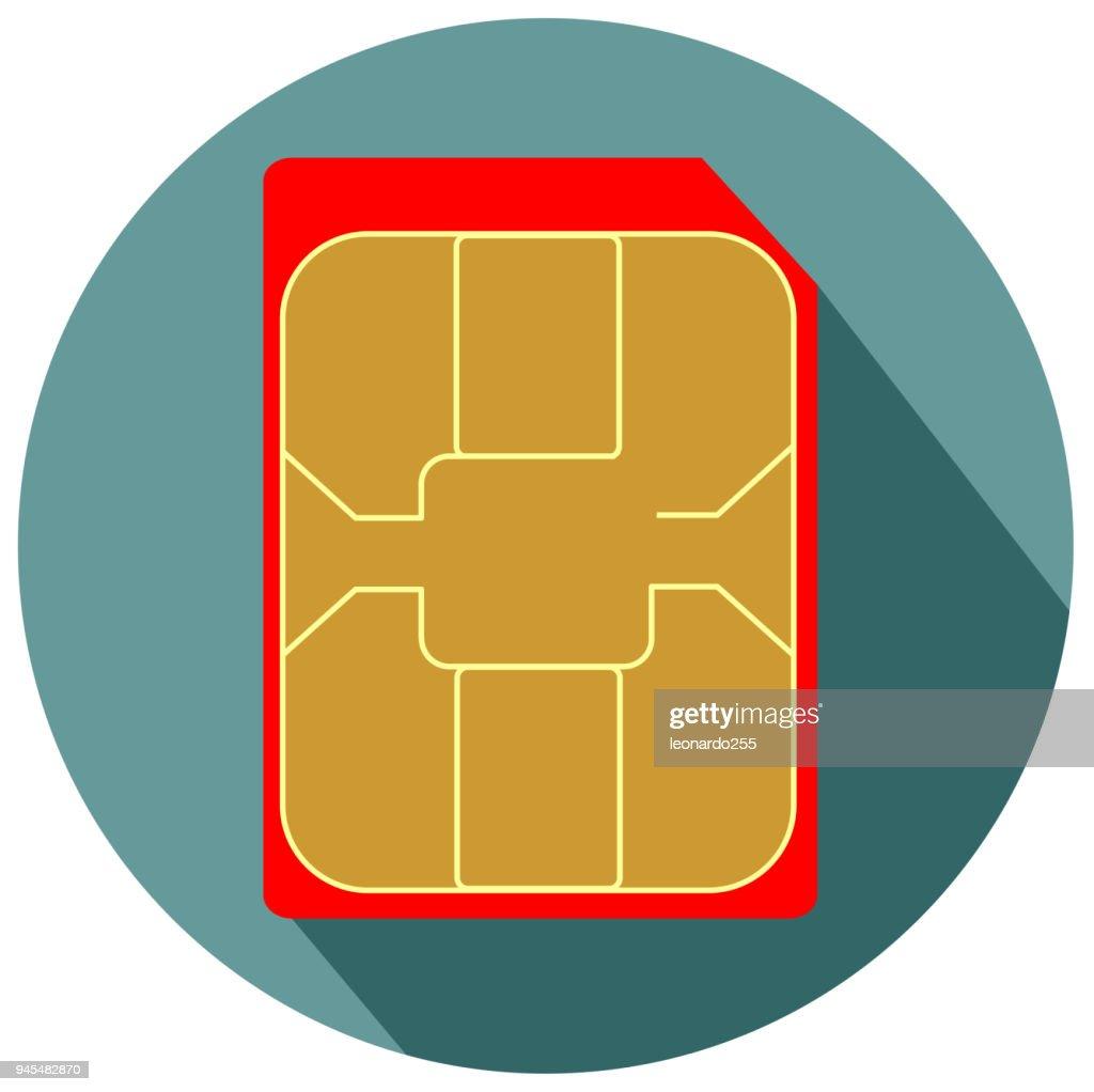 Mobile phone nano sim card flat design icon