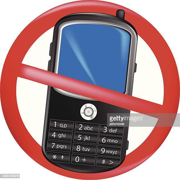ilustrações de stock, clip art, desenhos animados e ícones de telemóvel telefone proibida - proibido celular