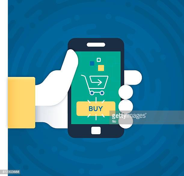 mobile phone purchasing and shopping - ordering stock illustrations, clip art, cartoons, & icons