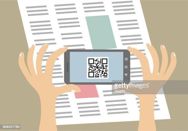 mobile phone qr code scanning - bar code reader stock illustrations, clip art, cartoons, & icons