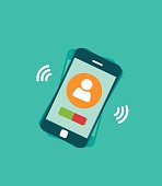 Mobile phone ringing vector illustration with signal waves and vibration,
