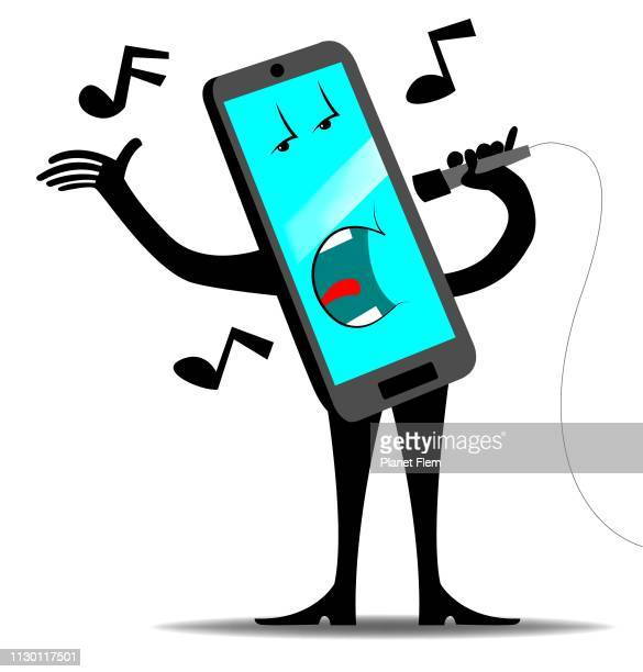 mobile phone singer - karaoke stock illustrations
