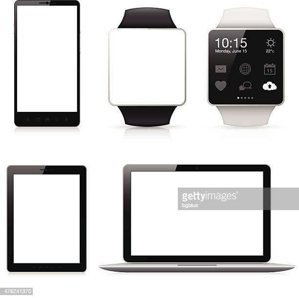 mobile phone, smart watch, tablet and laptop with blank screen - blank screen stock illustrations, clip art, cartoons, & icons