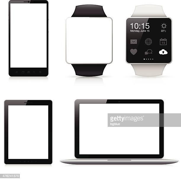 ilustraciones, imágenes clip art, dibujos animados e iconos de stock de teléfono móvil, reloj inteligente, tablet y portátil con pantalla en blanco - pc de escritorio