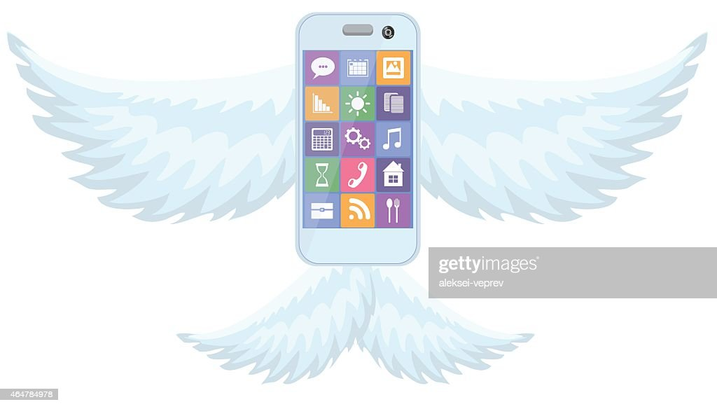 Mobile phone smartphone with wings on white background vector