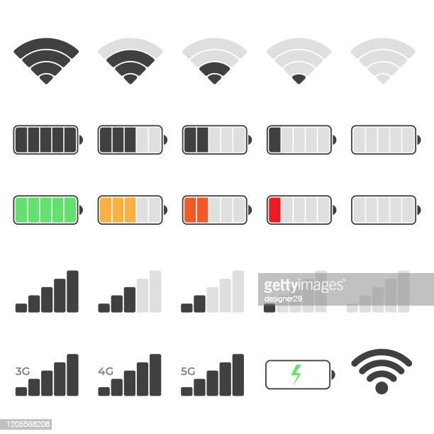mobile phone system icon set. signal strength, battery charge vector design. - low stock illustrations