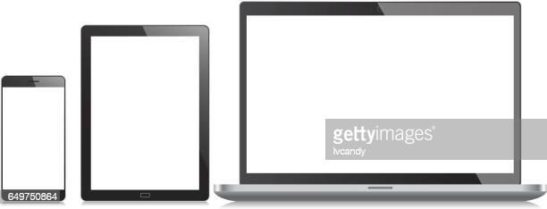 mobile phone, tablet and laptop - white background stock illustrations