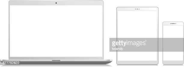 mobile phone, tablet and laptop - white stock illustrations
