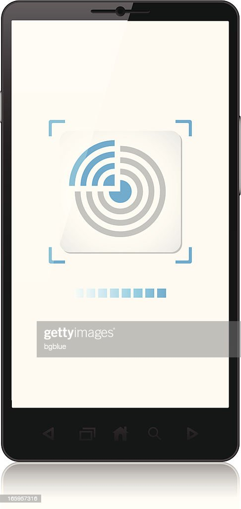 Mobile phone, tag NFC, new contactless technology : stock illustration