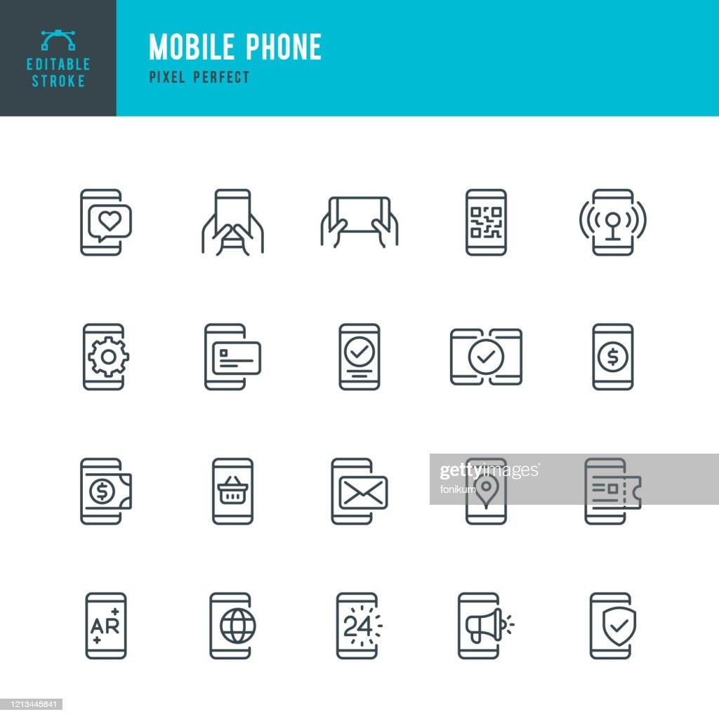 Mobiele telefoon - dunne lijn vector pictogram set. Pixel perfect. Bewerkbare slag. De set bevat pictogrammen: Smart Phone, Contactless Payment, Mobile Payments, Augmented Reality, Online Shopping, E-Mail, QR Scaning. : Stockillustraties