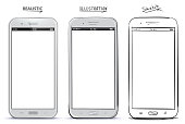 Mobile Phone Vector Drawing With Different Styles.