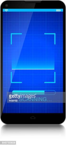 mobile phone - fingerprint scanner stock illustrations